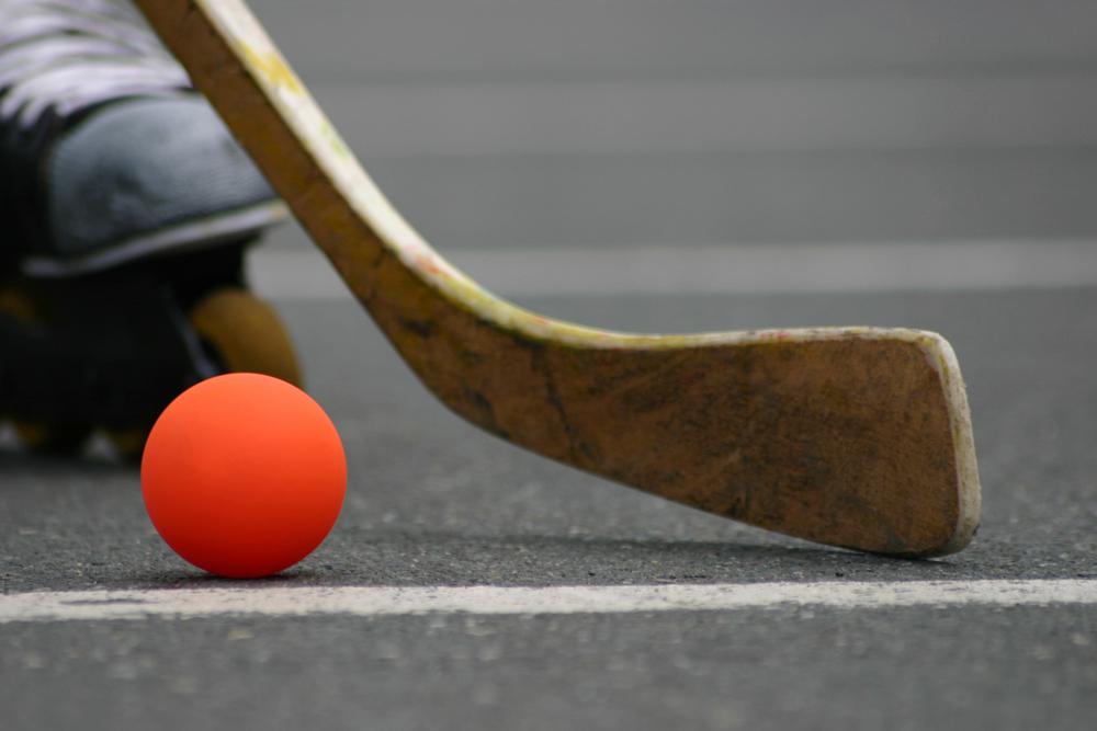 Мяч и клюшка для хоккея на роликах