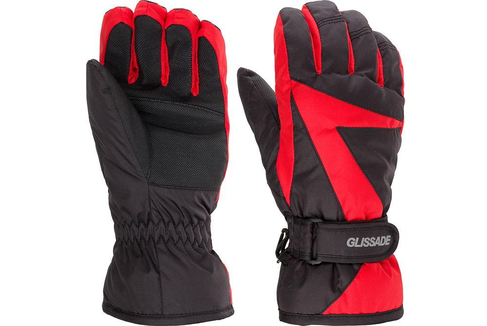 Лыжные перчатки красно-черные