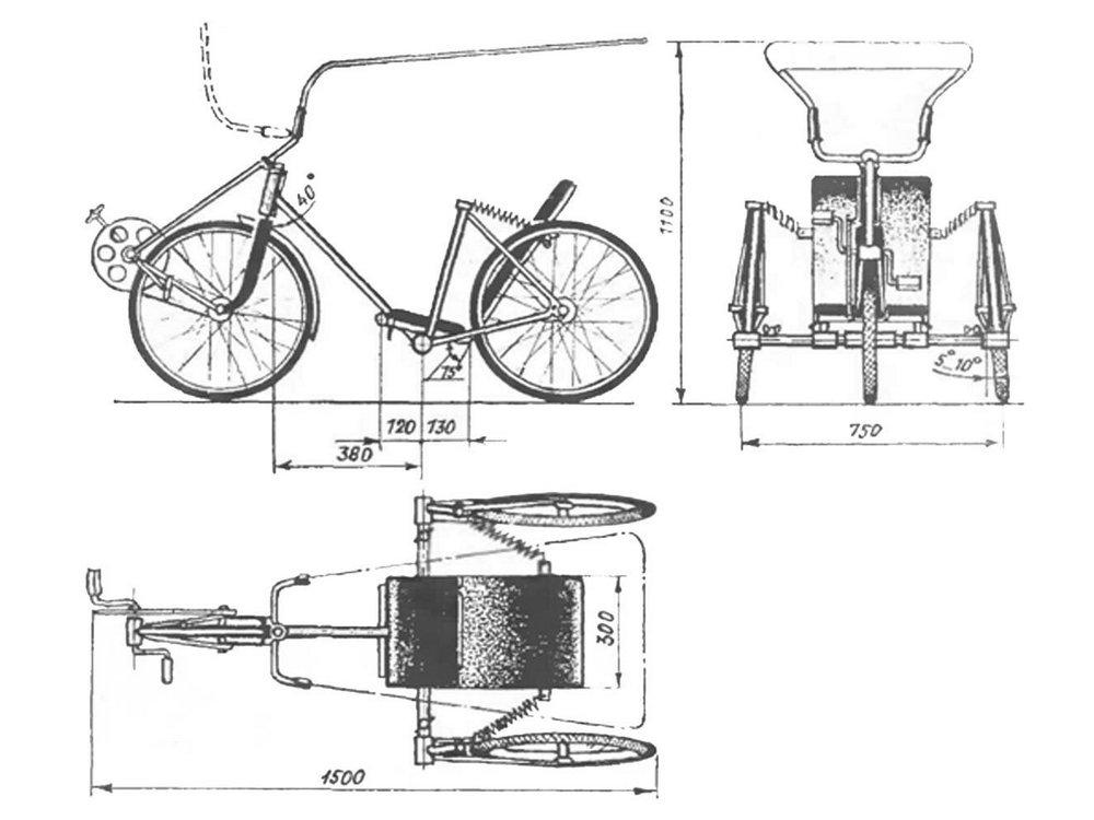 Чертеж велорикши из велосипеда