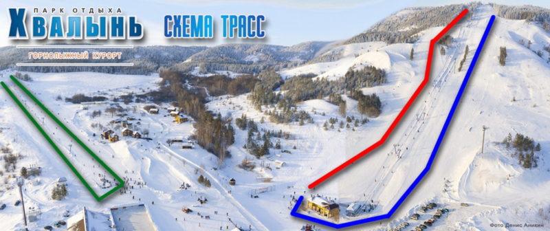 Схема трасс Хвалнского горнолыжного курорта