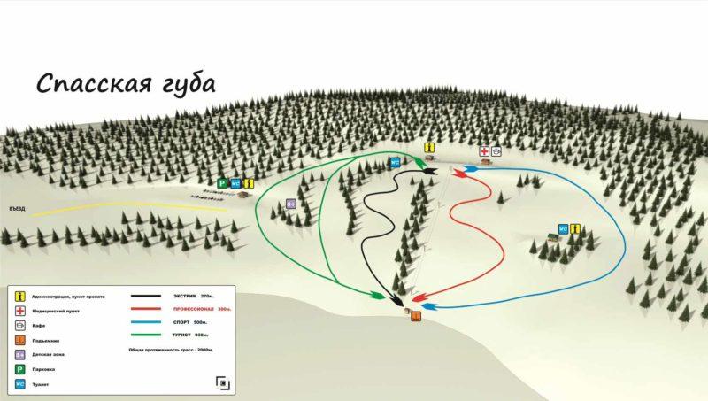 Спасская губа - схема трасс