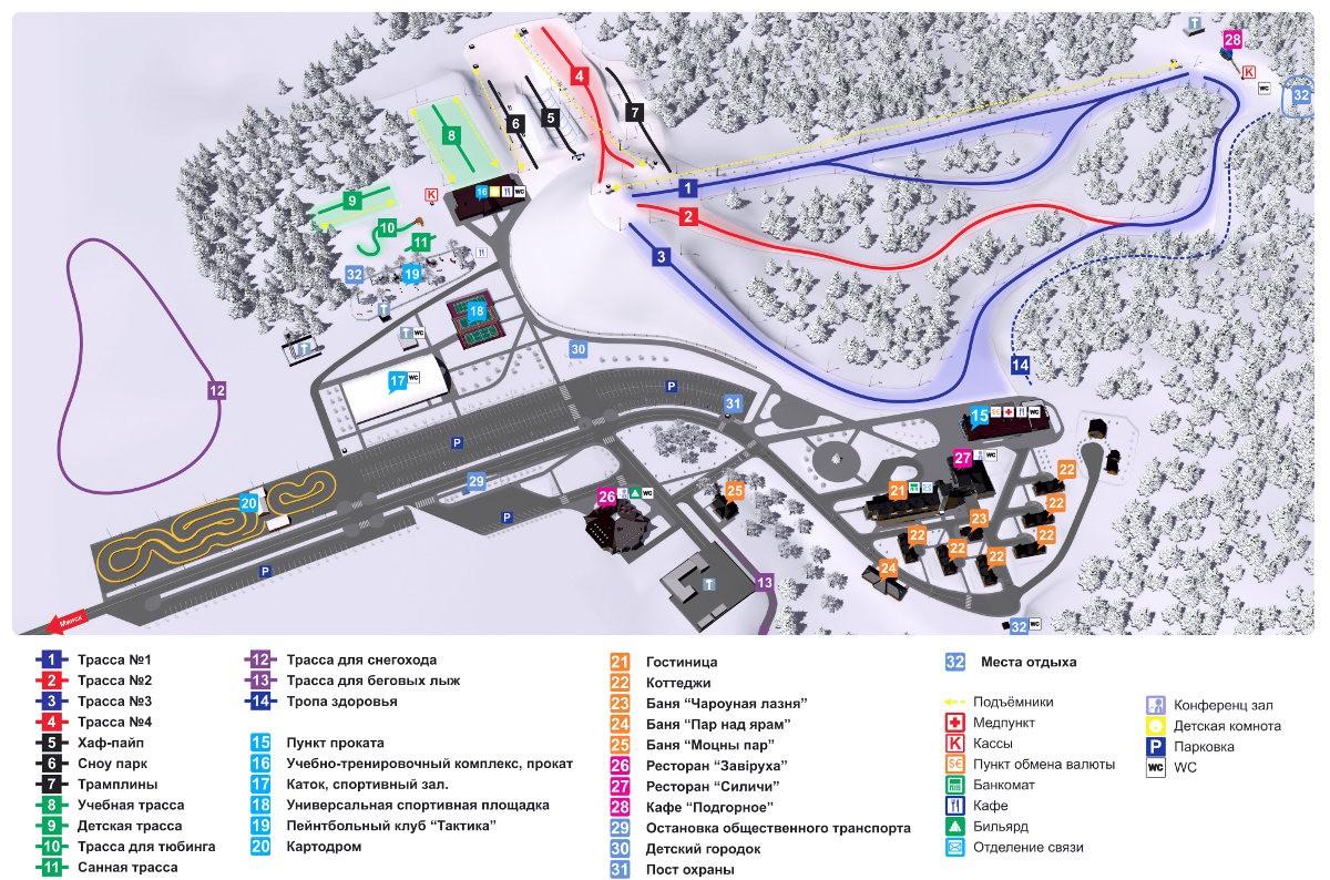 карта трасс в Силичи