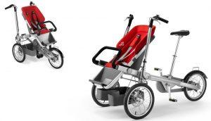 Велосипед-коляска с красным сиденьем