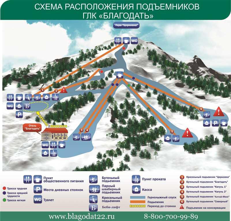 """Схема склонов горнолыжного курорта """"Благодать"""""""